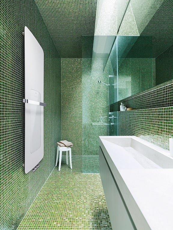 Radiátor Runtal Folio Hybrid - koupelna zelená
