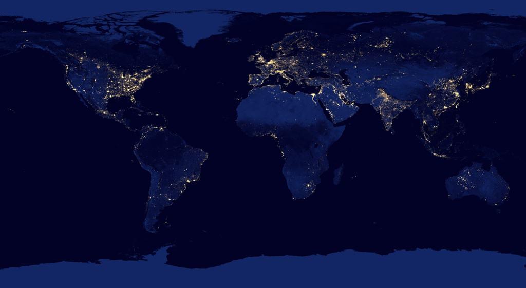 Světelný smog foto 2 -mapa světa se světleným znečištěním