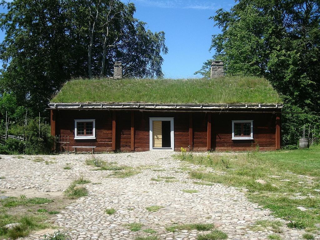 Dům se stromy a zelenou střechou