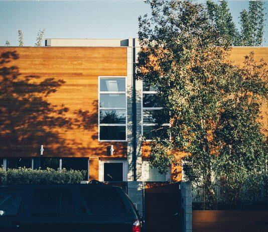 Dům se stromy obložený dřevěnými panely