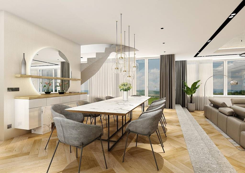 Design interiéru - jídelna - Mooden flat