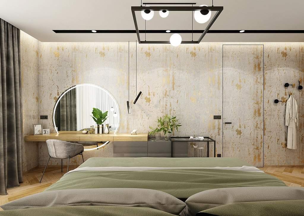 Design interiéru - ložnice - Mooden flat