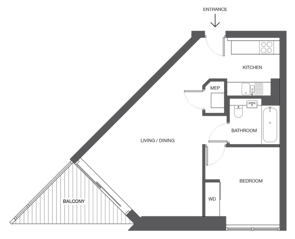 Uncle Elephant and Castle, London - ukázka 1 pokojového apartmánu (1+1)